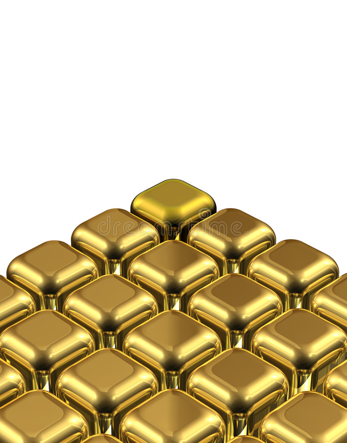 золото одно кубика различное иллюстрация вектора