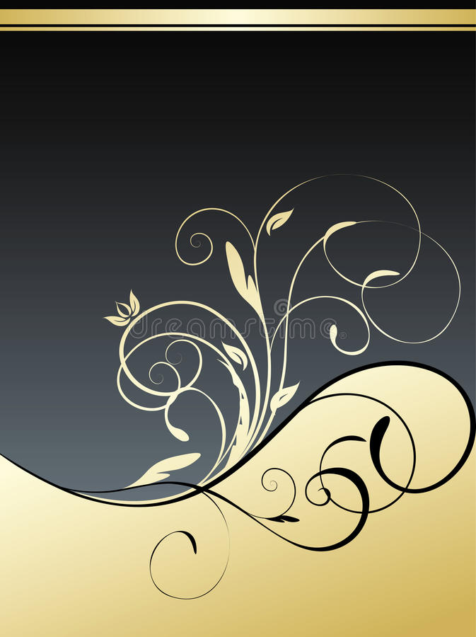 золото предпосылки флористическое иллюстрация вектора