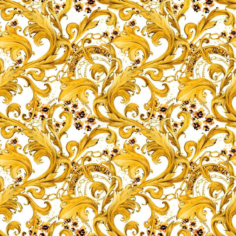 Золото приковывает безшовную картину Роскошная иллюстрация Золотистый шнурок Роскошный дизайн винтажный riches иллюстрация вектора