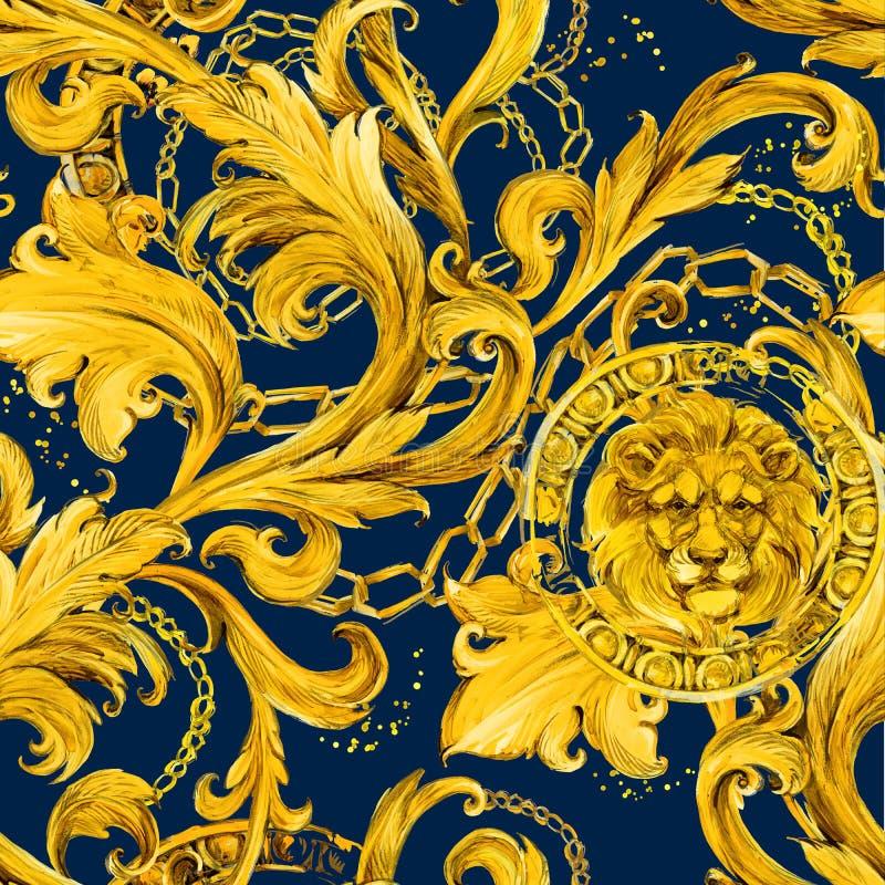 Золото приковывает безшовную картину Роскошная иллюстрация Золотистый шнурок Роскошный дизайн винтажный riches бесплатная иллюстрация