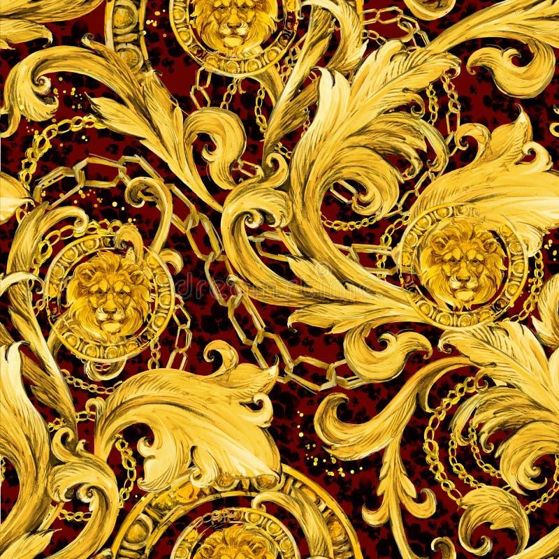 Золото приковывает безшовную картину Роскошная иллюстрация Золотистый шнурок Роскошный дизайн винтажный riches иллюстрация штока