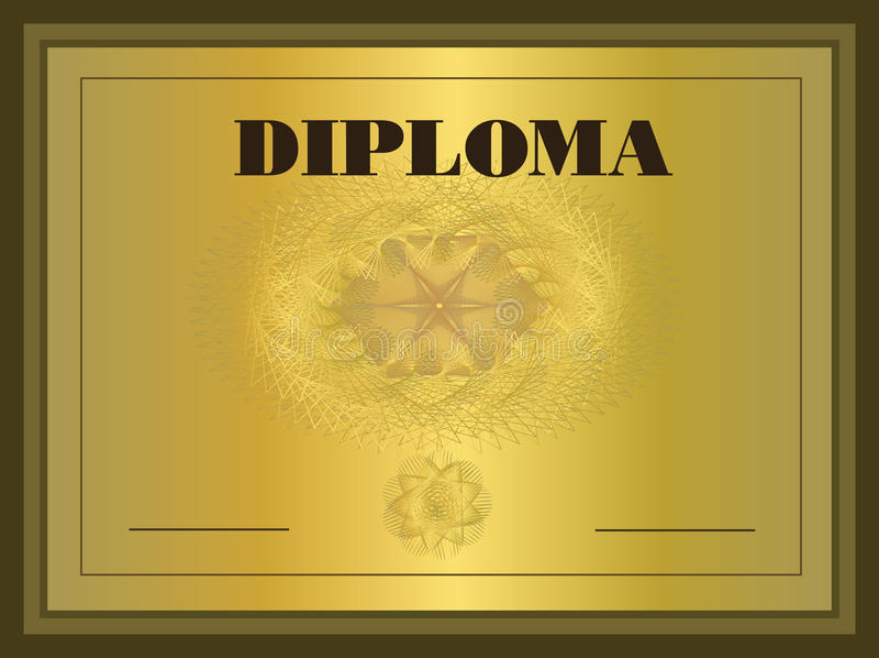 золото рамки диплома иллюстрация штока