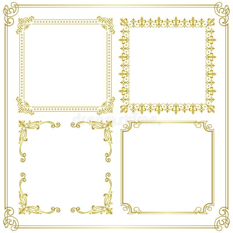 золото рамки иллюстрация штока