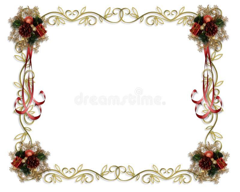 золото рождества граници иллюстрация вектора