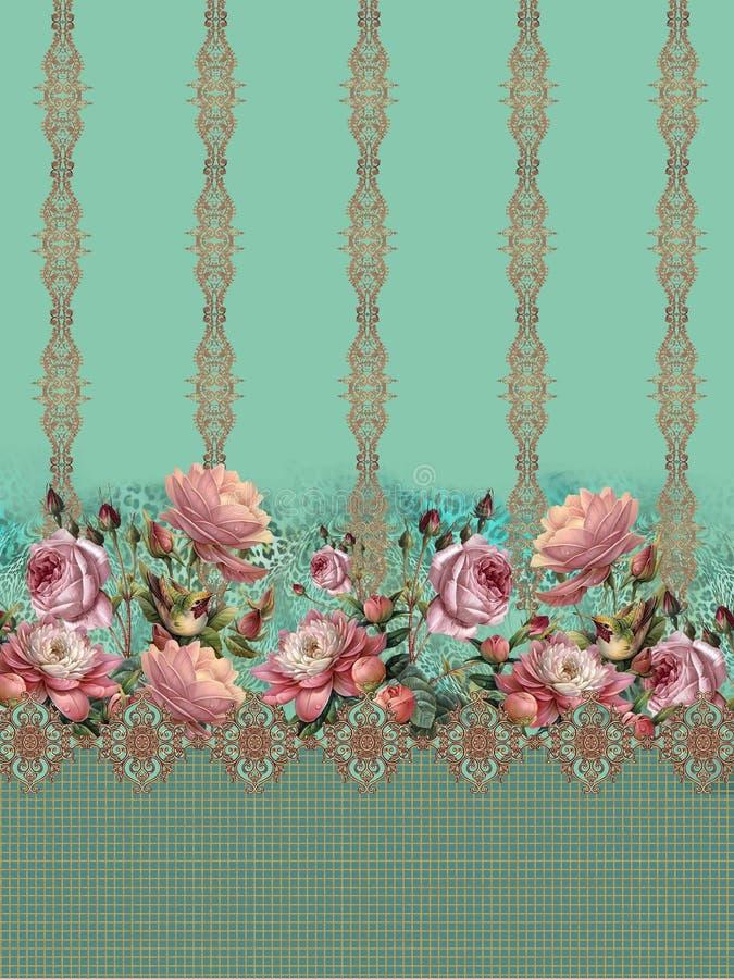 Золото роз цветков романтичное барочное стоковое изображение rf