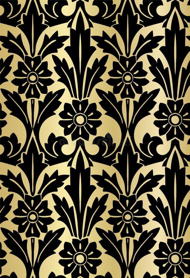 Золото роскошной безшовной картины дизайна штофа цветистое иллюстрация вектора