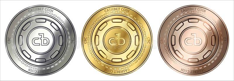 Золото, серебр и бронза CashBet чеканят монетку cryptocurrency CBC комплект монетки бесплатная иллюстрация