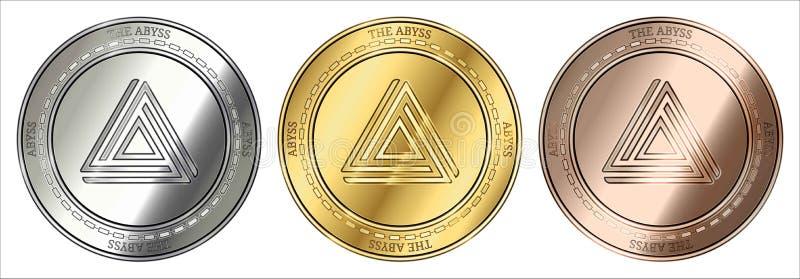 Золото, серебр и бронзирует монетку cryptocurrency ХЛЯБИ хляби комплект монетки иллюстрация вектора