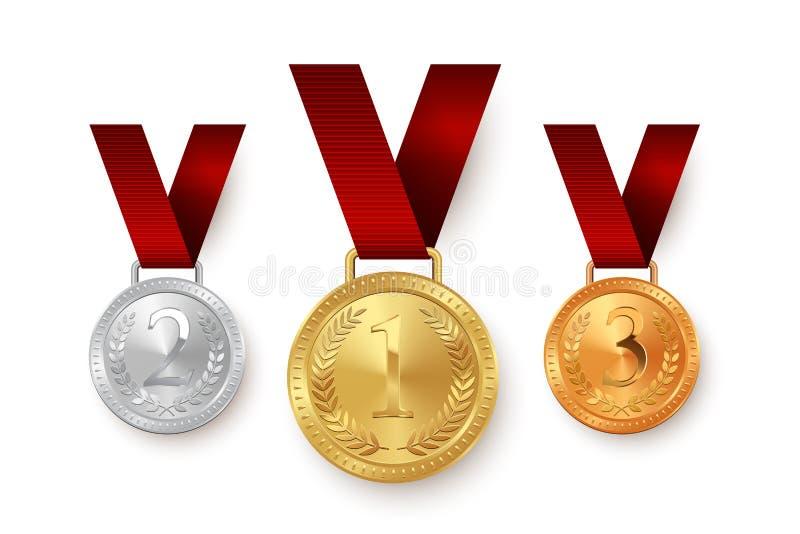 Золото, серебр и бронзовые медали вися на красных лентах изолированных на белой предпосылке конструкция легкая редактирует элемен бесплатная иллюстрация