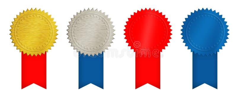 Золото, серебр, красные и голубые монетки или медали иллюстрация вектора