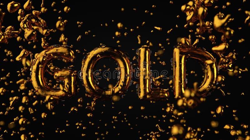 Золото текстурированное золотом текста с жидкостными падениями, черная предпосылка стоковые фото