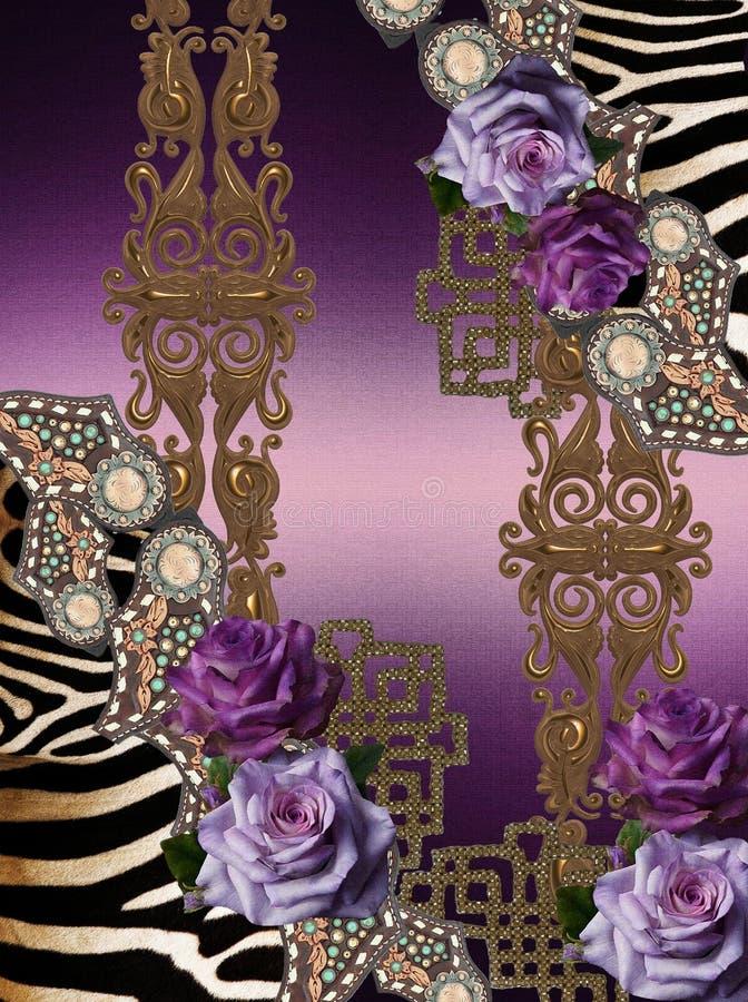 Золото фиолетовой животной печати цветков барочное стоковое изображение rf