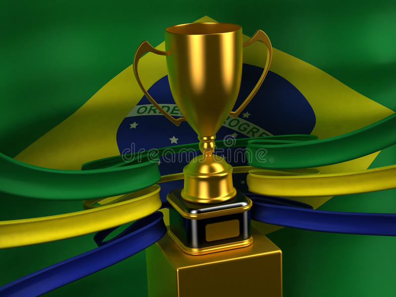 золото флага чашки Бразилии иллюстрация штока