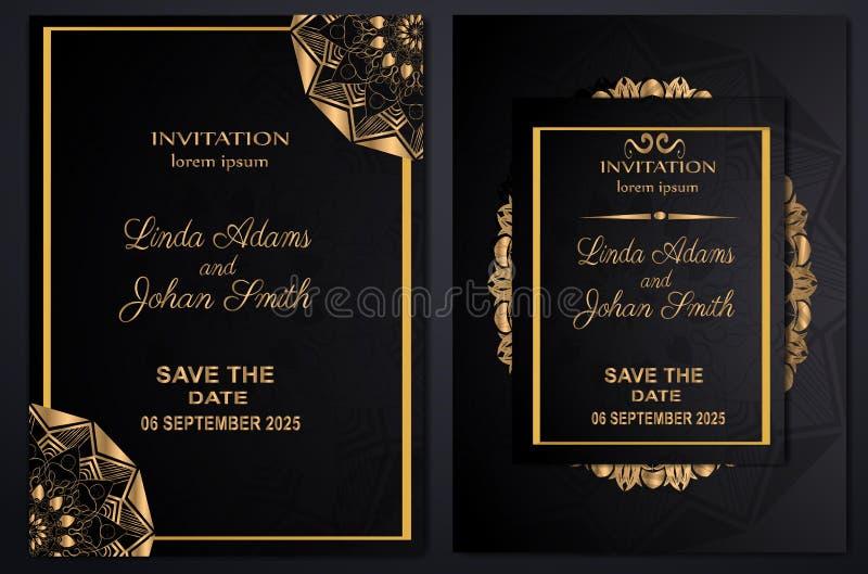 Золото шаблона свадьбы приглашения роскошное иллюстрация вектора