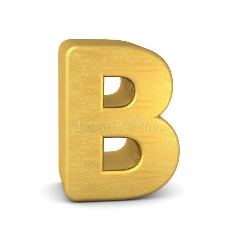 золото b письма 3d иллюстрация штока