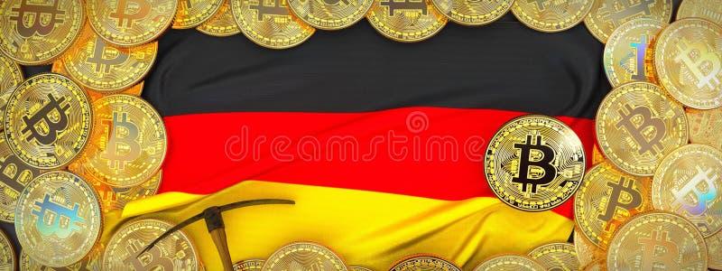 Золото Bitcoins вокруг флага Германии и обушок на левой стороне 3d il бесплатная иллюстрация