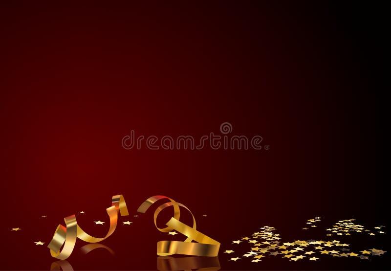 золото confetti предпосылки иллюстрация вектора