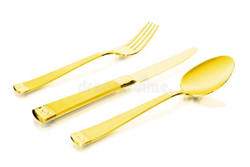 золото flatware стоковая фотография