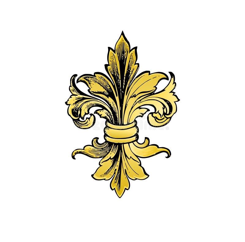 Золото fleur-de-lys Роскошный королевский элемент флористического дизайна иллюстрация штока
