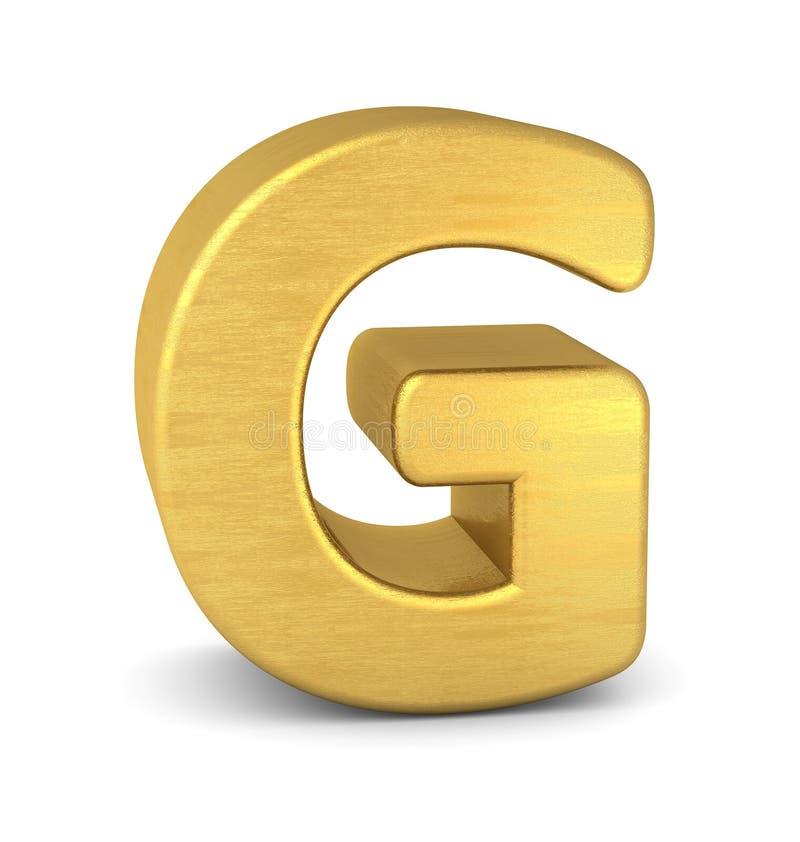 золото g письма 3d иллюстрация штока