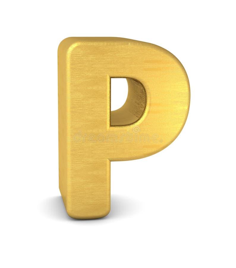 золото p письма 3d иллюстрация вектора