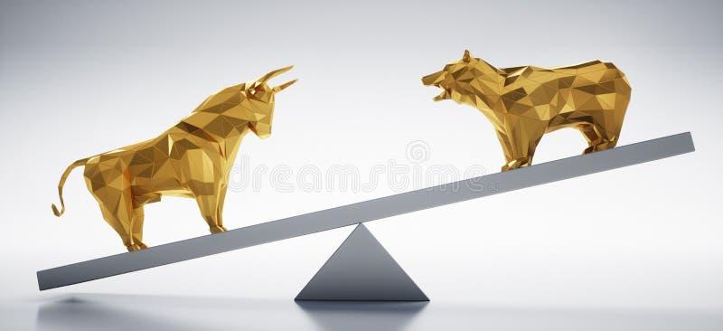 Золотые бык и медведь - фондовая биржа концепции вверх и вниз иллюстрация штока