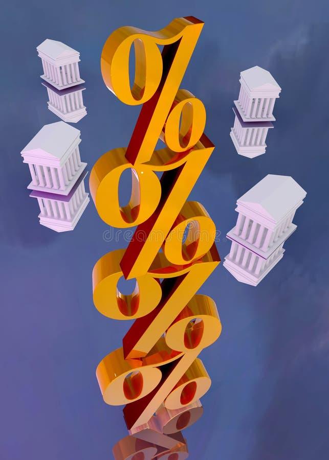 Золотые знаки процента со зданием виска стоковое фото