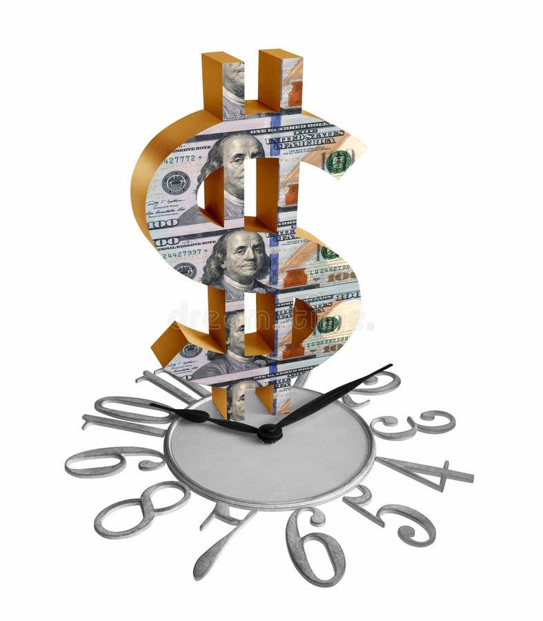 Золотые знак доллара/символ с u S долларовые банкноты на часах изолированных в белой предпосылке иллюстрация штока