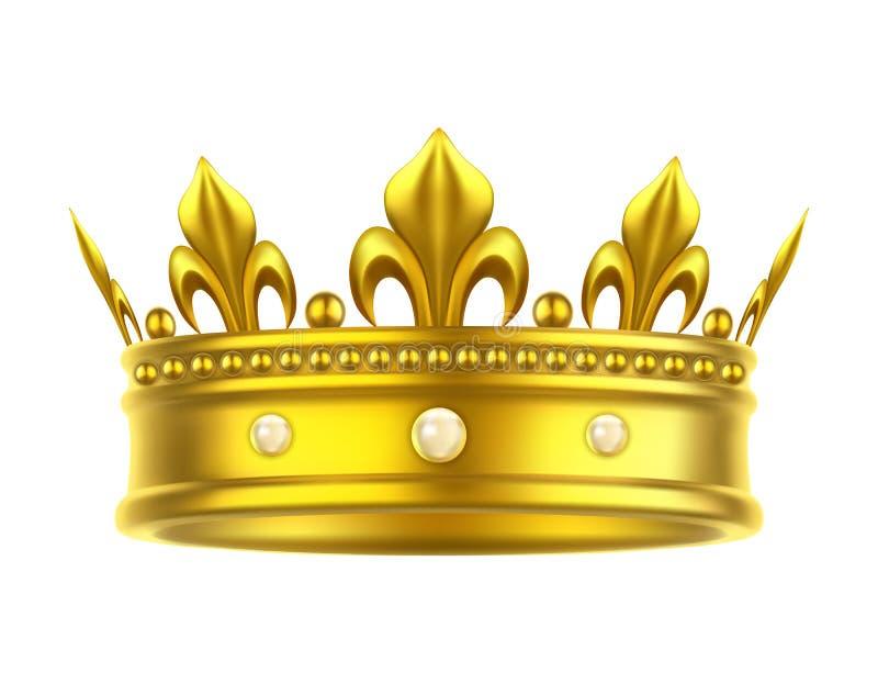 Золотые изолированные головной убор или крона для короля, ферзя иллюстрация вектора