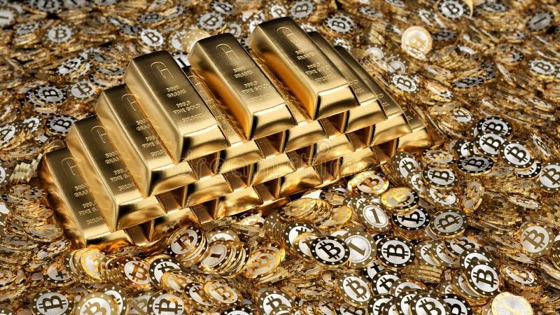 Золотые инготы и Bitcoins иллюстрация штока