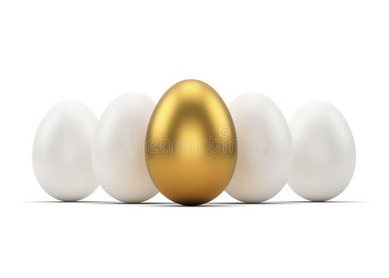 Золотые и белые яичка на белизне бесплатная иллюстрация