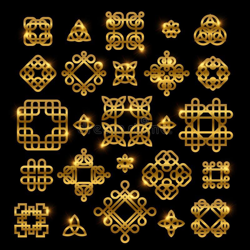 Золотые кельтские узлы при сияющие элементы изолированные на черной предпосылке Вектор завязывает собрание значка иллюстрация вектора