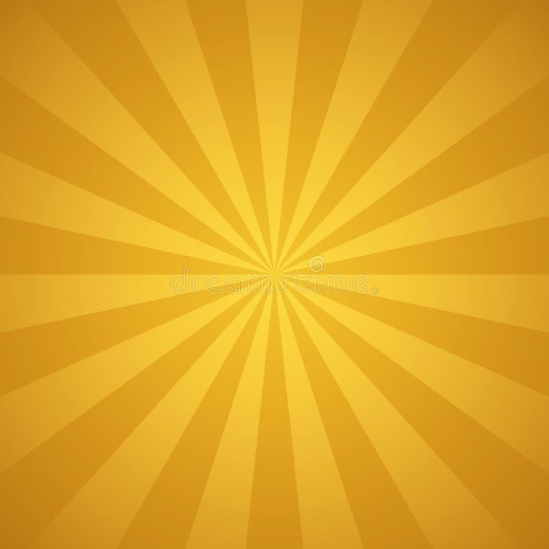 Золотые лучи солнца и предпосылка вектора лучей абстрактная иллюстрация вектора