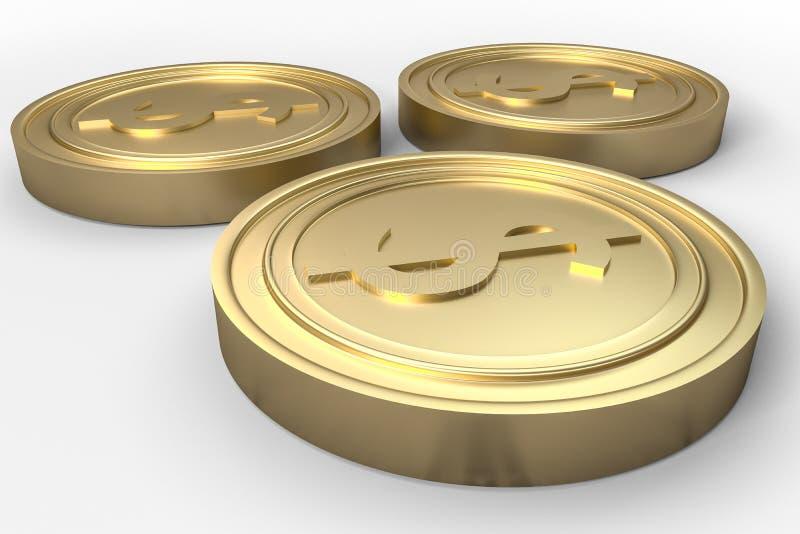 золотые монетки валюты с белой предпосылкой, переводом 3d стоковое изображение rf