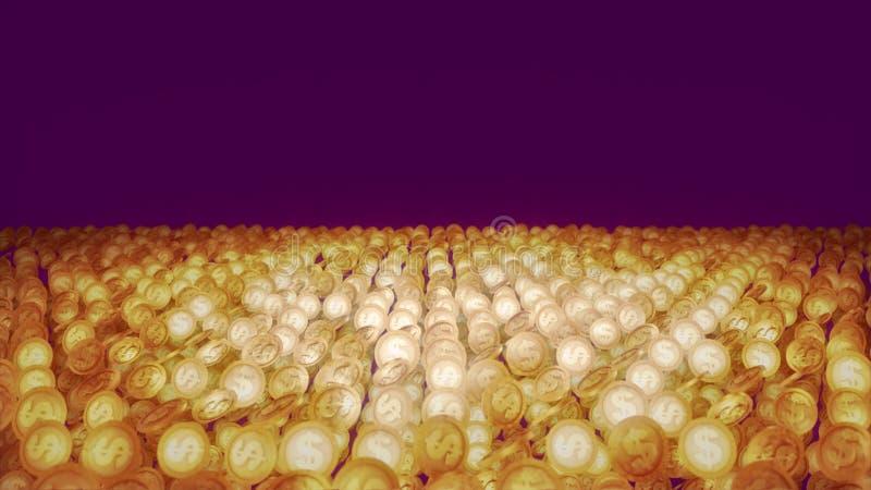 Золотые монетки завихряются счастливо положенный в строки бесплатная иллюстрация
