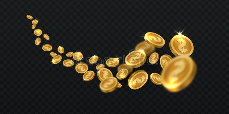 Золотые монетки летая Изолированный дождь золотой монетки Иллюстрация вектора наличных денег 3d джэкпота выигрывая бесплатная иллюстрация