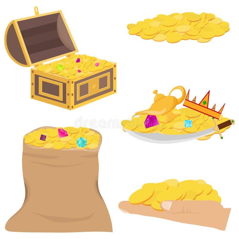 Золотые монетки, сокровище, драгоценные камни Комод с золотыми монетками и драгоценными камнями иллюстрация штока