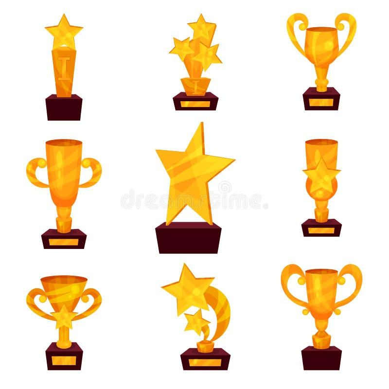 Золотые награды устанавливают, чашки трофея и награды в форме шаржа звезды vector иллюстрации иллюстрация вектора