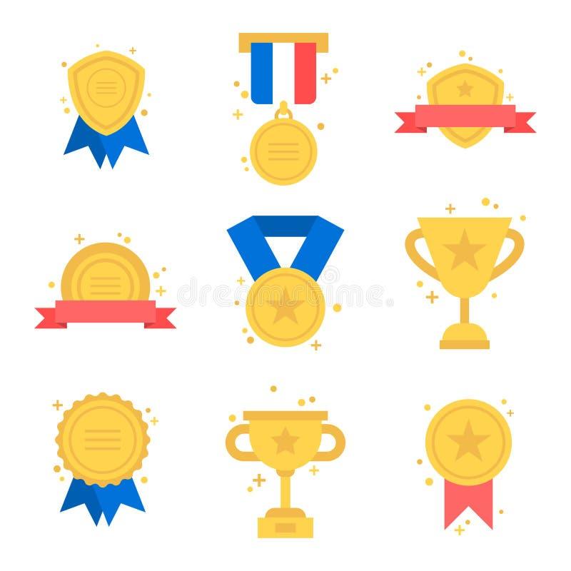 Золотые награды установили с успехом чемпиона победителя значка медали трофея с изумительными деталями цветов иллюстраций вектора бесплатная иллюстрация