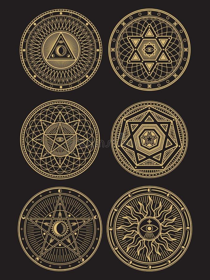 Золотые оккультные, мистические, духовные, эзотерические символы вектора иллюстрация вектора