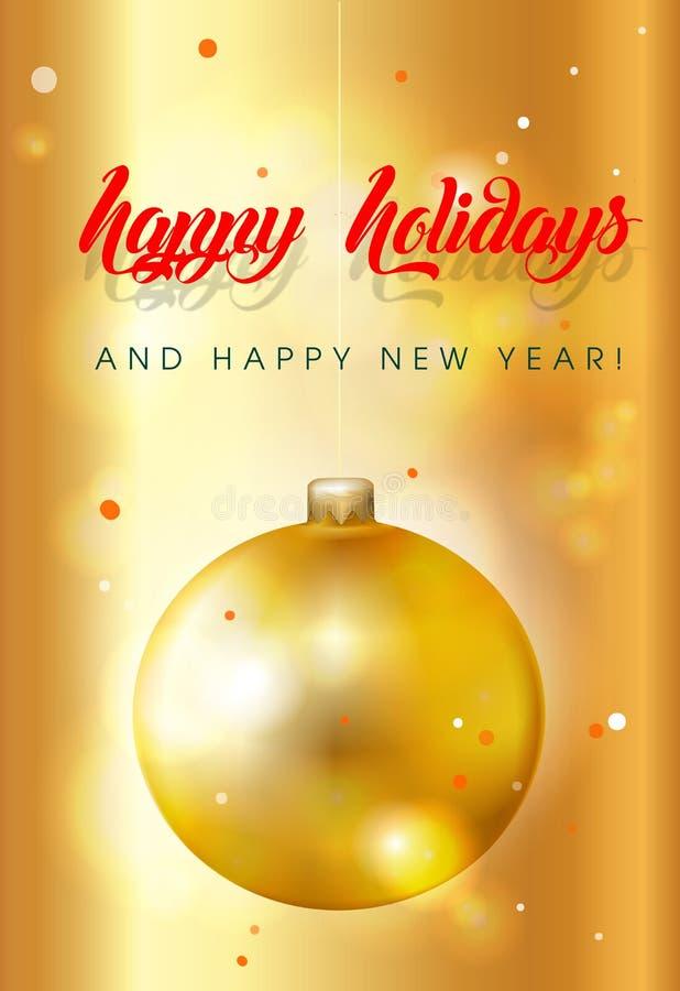 Золотые освещенные с украшенными, яркими, позолоченными шариками на рождественской открытке - иллюстрация штока