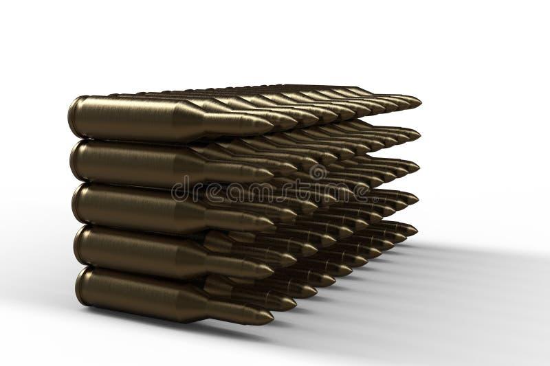 Золотые пули 3D представляют бесплатная иллюстрация