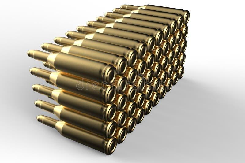 Золотые пули 3D представляют иллюстрация штока