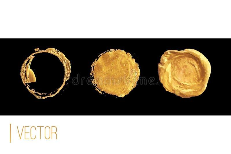 Золотые рамка круга и набор вектора уплотнения воска иллюстрация штока