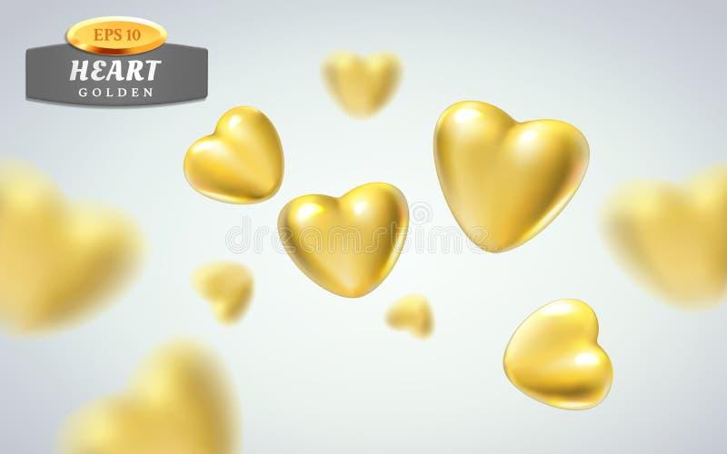Золотые реалистические сердца на светлой предпосылке иллюстрация вектора 3d металлической роскошной формы сердца в различных взгл бесплатная иллюстрация