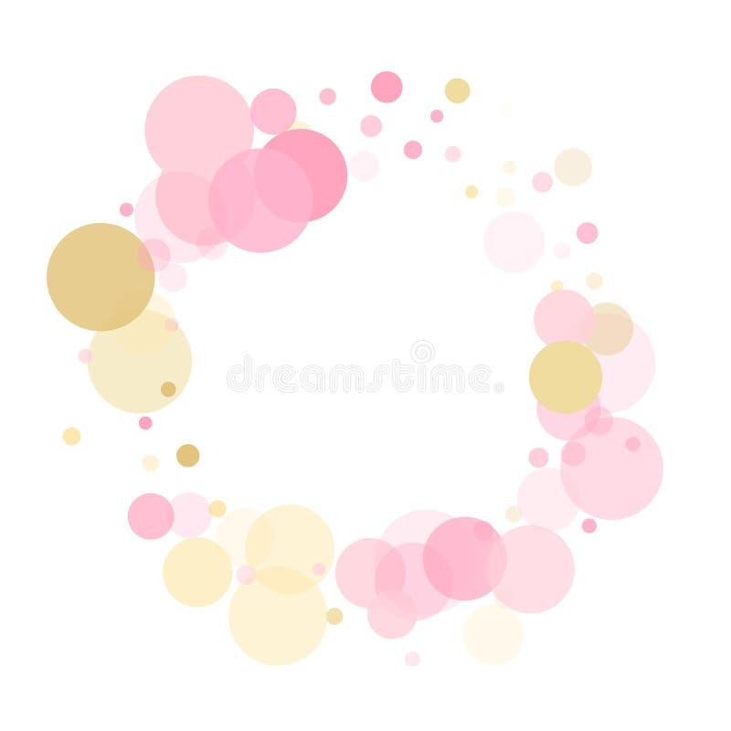 Золотые, розовые и розовые цвета круглые конфетти точки, круги хаотические рассеивание иллюстрация вектора