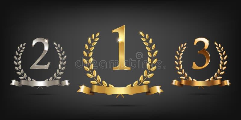 Золотые, серебряные и бронзовые лавровые венки с лентами и во-первых, во-вторых и третьими знаками места Спорт подиума победителя бесплатная иллюстрация