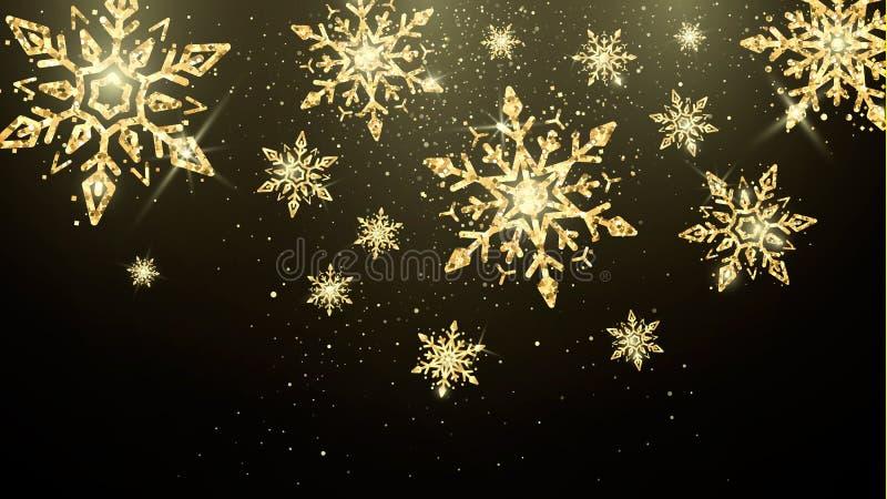 Золотые снежинки изолированные на темной предпосылке Обои украшения Нового Года и рождества волшебные Знамя праздника иллюстрация вектора