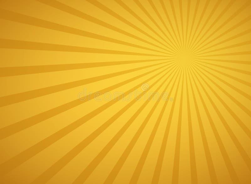 Золотые солнечные лучи и предпосылка иллюстрации вектора лучей ретро бесплатная иллюстрация
