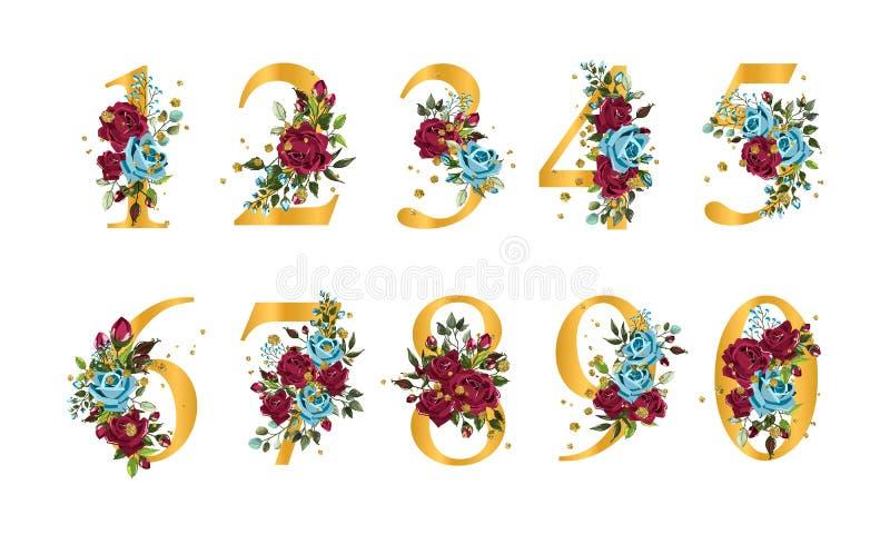 Золотые флористические номера с листьями роз сини военно-морского флота bordo цветков и splatters золота иллюстрация вектора